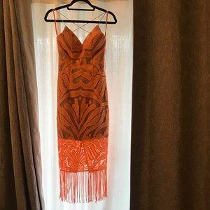 Midi orange summer dress